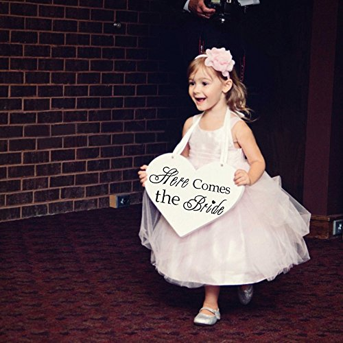 Wooden Heart Here Comes the Bride with And they lived Happily Ever After Wedding Flower Girl Sign, Ring Bearer Sign , Crisp Paint, 2-sided