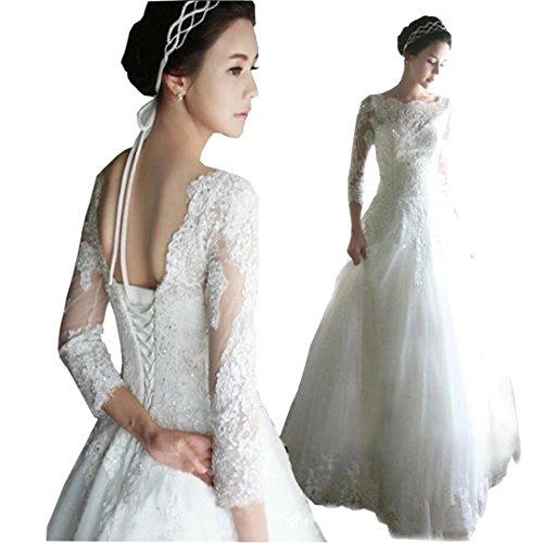 Length Dimei Lace Wedding Neck up Lace A Gowns Back Dresses Ivory Scoop Floor Bridal Wedding line Dresses 0r0qO