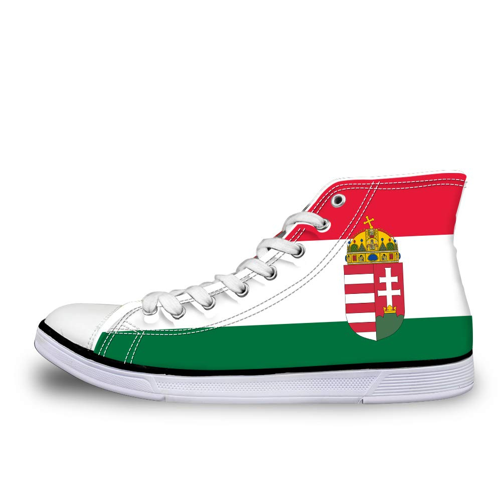 Owaheson Canvas High Top Sneaker Casual Skate Shoe Mens Womens Hungary Flag National Emblem