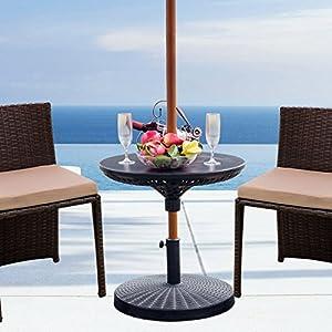 Sundale Outdoor Adjustable All Weather Umbrella Table Beach Patio Garden Poolside Accessory, 23in Diameter, Black