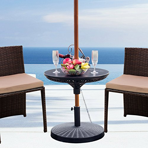 Sundale Outdoor Adjustable All Weather Umbrella Table Beach Patio Garden Poolside Accessory , 23in Diameter, Black (Side Table Umbrella)