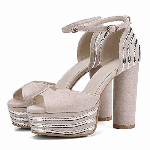 Boucle Femmes Nouveau forme Sandales De Plate Sexy Carolbar Beige Talon Style Bloc Haute PqRAZwz