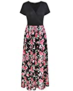 OUGES Womens Summer Floral Casual V-Neck Long Maxi Dress With Pockets