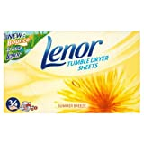 Lenor Tumble Dryer Sheets Summer Breeze 34 per pack Case of 6