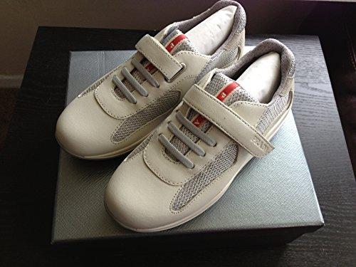 Prada Calzature Baby Sneakers Talco & Silver Leather Sz 30 (US - Prada Bike