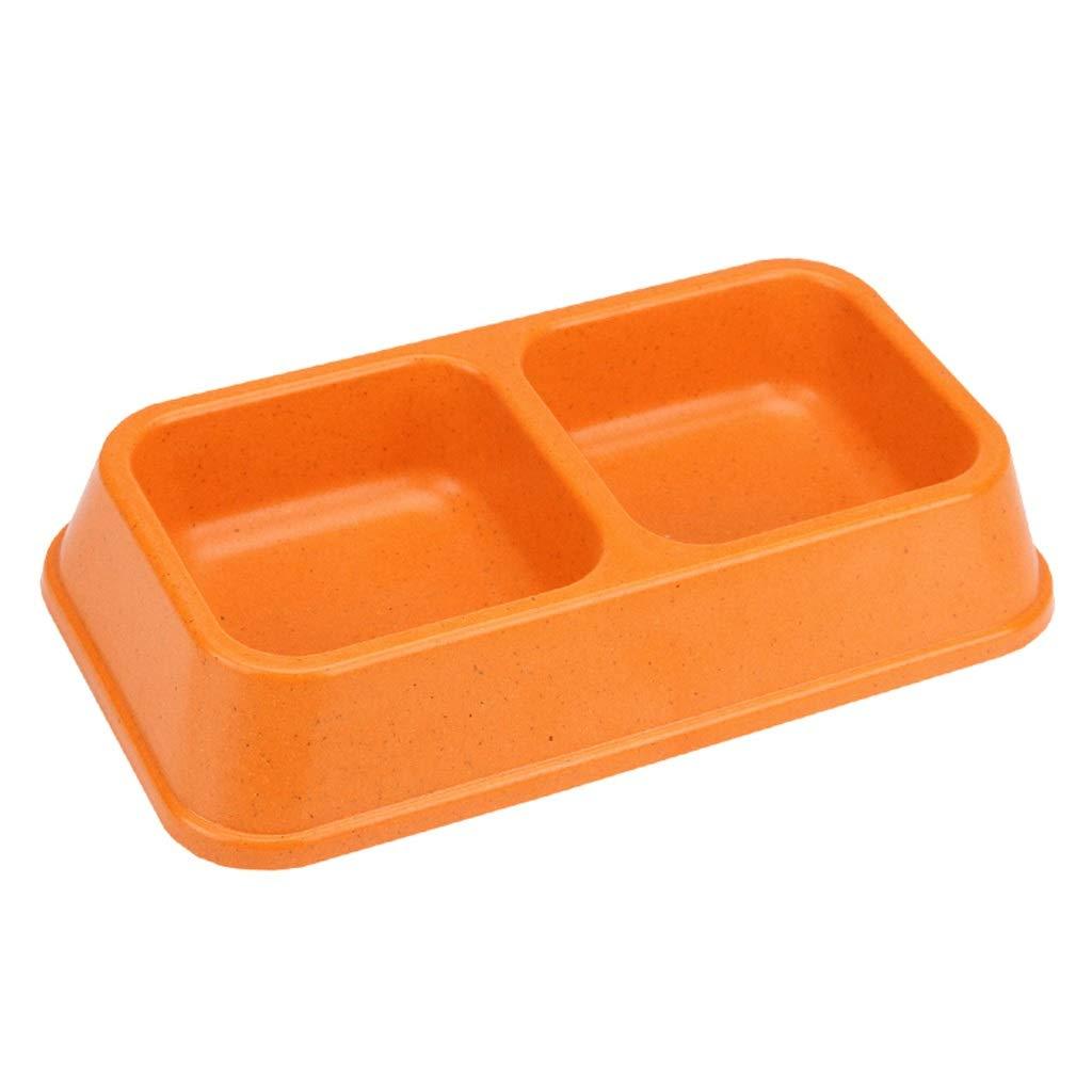 orange CXQ Small Dog Cat Food Bowl Creative Simple Square Double Bowl Food Bowl Cat Bowl Dog Bowl Pet Supplies (color   orange)