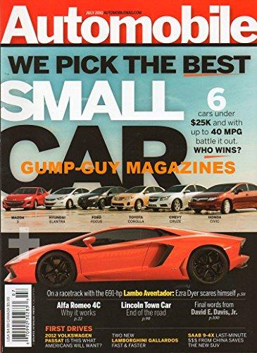 Automobile Magazine July 2011 WE PICK THE BEST SMALL CAR 6 UNDER $25K On A Racetrack With The 691-hp Lambo Aventador . Ezra Dyer Scares Himself ALFA ROMEO 4C Lincoln Town Car LAMBORGHINI GALLARDOS