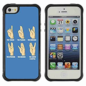 A-type Arte & diseño Anti-Slip Shockproof TPU Fundas Cover Cubre Case para Apple iPhone 5 / 5S ( Funny Hand Signs )