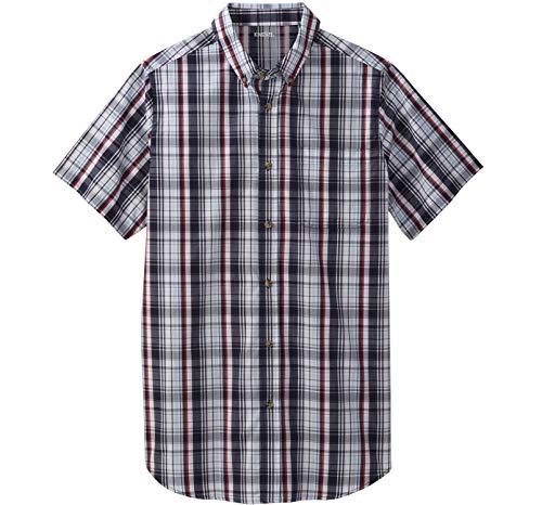 (KingSize Men's Big & Tall Shrink-Less Short Sleeve Sport Shirt, Navy Plaid Big-5XL)