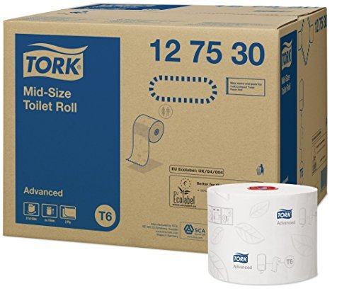 Tork 127530 Midi toilet rolls T6 / Toilet paper rolls advanced quality mid-size / 2-ply tissues rolls compatible with Tork T6 twin roll dispenser, compact toilet system / (27 x 100m) by Tork