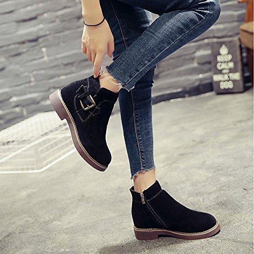PU Invierno Otoño botas Casual de puntera talón el botas de negro caqui combate botas redonda Khaki Mid Calf bajo para Mujer Zapatos aqxIfw