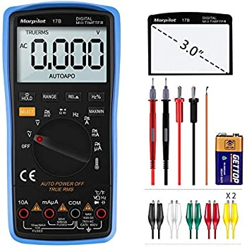 Digital Multimeter, Morpilot Auto-Ranging 6000 Counts DC/AC Voltage & Current, Resistance, Frequency, Continuity, Capacitance, Diode, Temperature, ...