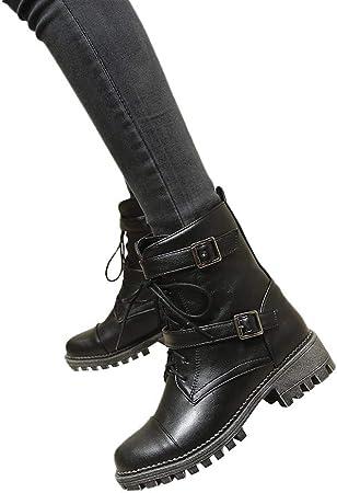 ZODOF Botas Planos Alto Top de Medieval Style para Mujer,Botas de Estilo Militar Medio de Moda Zapatos de Mujer de Hebilla de Cuero Artificial Patchwork