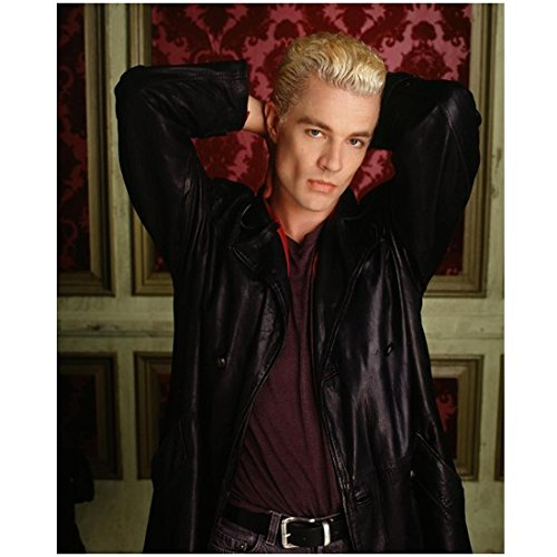 James Marsters 8 x 10 Photo Buffy The Vampire Slayer Black Leather Jacket Red Shirt Red & Pink Wallpaper in Background Hands Behind Head kn (James Marsters In Buffy The Vampire Slayer)