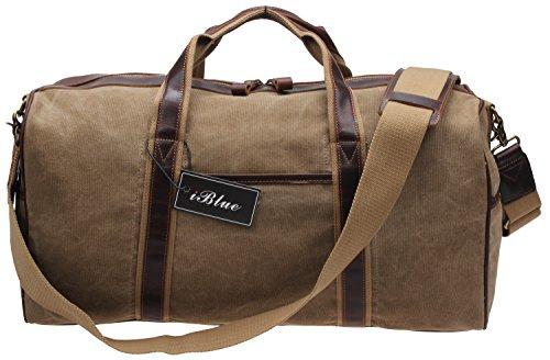 Iblue Canvas Weekender Duffel Tote Leather Trim Travel Luggage Sports Gym Bag 21in #i521 (XL, khaki) by iblue (Image #1)