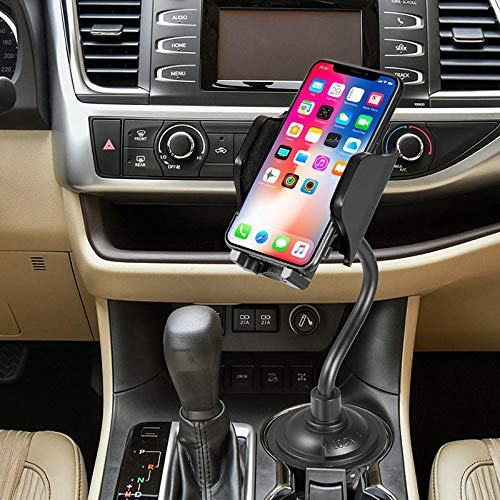 Magnetic, Padded Cell Phone Holder, XL Wide Tablet Clamp Grip - Universal Up to 9.5 Triple Threat Nakedcellphone Cup Holder Mount for iPhone Smartphone iPad Mini with 3 Attachments