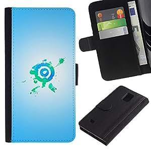 Planetar® Modelo colorido cuero carpeta tirón caso cubierta piel Holster Funda protección Para Samsung Galaxy Note 4 IV / SM-N910 ( Bullseye Target Green Blue )