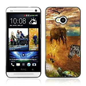 Designer Depo Hard Protection Case for HTC One M7 / African Safari Animals
