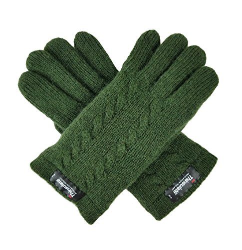 Bruceriver Ladie's Pure Wool Knit Gloves with Thinsulate Lining and Cable design Size S (Green)