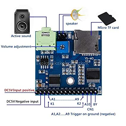 V2AMZ - MP3 Voice Module SD/TF Voice Broadcast Trigger Player +