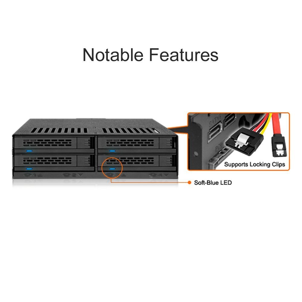 ICY DOCK 4x2.5 SSD to 5.25 Drive Bay Hot Swap Backplane Cage Mobile Rack Comparable to Tray-less Design - ExpressCage MB324SP-B