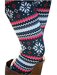 Womens Autumn Winter Snowflake Graphic Printed Stretchy...