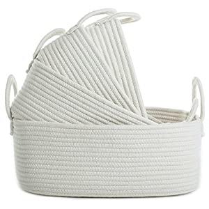 Storage Baskets Set of 4 – Woven Basket Cotton Rope Bin, Small White Basket Organizer for Baby Nursery Laundry Kid's Toy