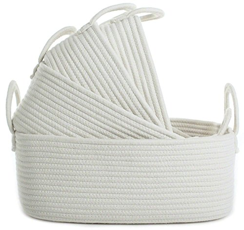 Storage Baskets Set of 4 - Woven Basket Cotton Rope Bin, Small White Basket Organizer for Baby Nursery Laundry Kid