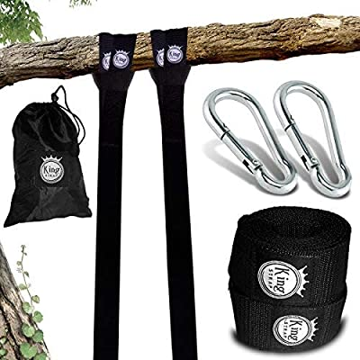KingStrap Tree Swing Strap Hanging KIT - Two 4FT Straps, Hold 2500 lbs, Two Heavy Duty Carabiner, Free Bonus EBOOK, Easy Installation, 100% Waterproof, Carry Bag Included, Perfect Way to Swing: Garden & Outdoor