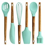 wood handle rubber spatula - Set of 6 - Silicone Baking Utensils with Wooden Handle Balloon whisk, Slotted & Solid Kitchen Spoon, Spatula, Long Scraper and Pastry Brush, Acacia Hard Wood Handle