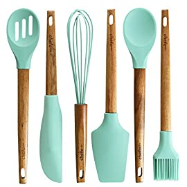 Silicone Baking Utensils - 49 EVERYTHING YOU NEED FOR THE ULTIMATE BAKING EXPERIENCE - Enjoy whisking, mixing, and combining with this complete set of baking utensils. Set includes: egg whisk, slotted spoon, spoon, spatula, long scraper, and oil brush. PROTECT YOUR BAKEWARE - These non-scratch mint green silicone utensils won't scratch, chip or harm your nonstick and metal pans. They are the perfect tool to extend the life of your bake ware. ELEGANT AND NATURAL - This stylish, Teal Blue silicone heads and natural acacia wooden handles will greatly enhance your kitchen's decor. Since it is made of natural wood, each handle has its unique pattern and design. This set will make a great gift for chefs, home cooks or professionals