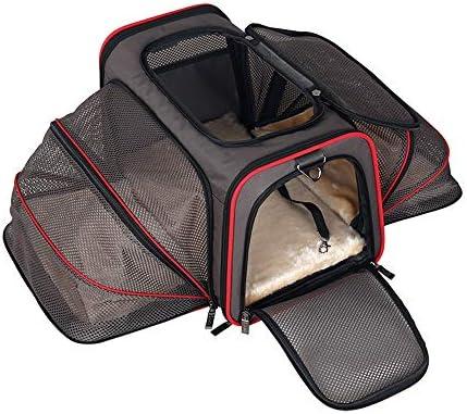 WJ ペットバッグ - 持ち運び可能なポータブルペットバッグ環境健康大スペース軽量バックパック - 2色2スタイル2サイズオプション ペット用品ペットバッグ (Color : Asphalt gray, Size : Double expansion-M)