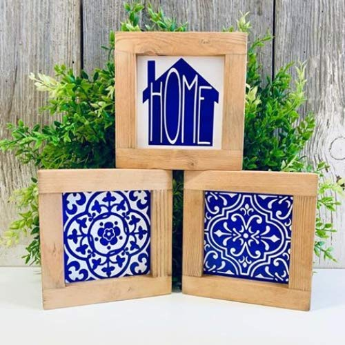 (Mini Framed Mosaic Tile Home Wood Wall Art Plaque Decor Blue and White Set of 3)