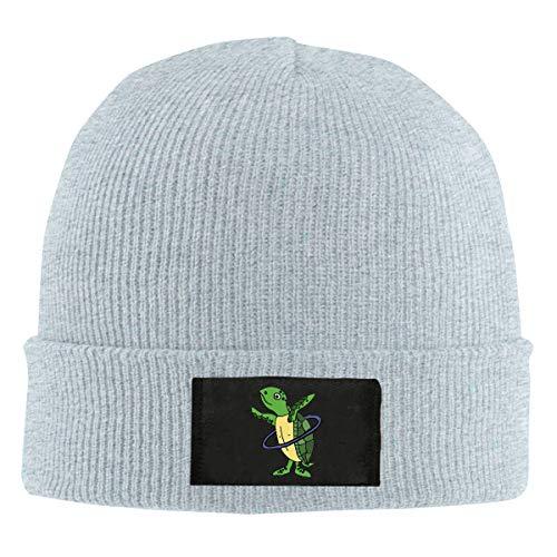 Sea Turtle Playing Hula Hoop Men Women Daily Knit Hats Acrylic Warm Beanie Hats Skull Cap Winter Hats Gray
