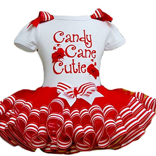 JINTING Little Girls Christmas Holiday Candy Cane Cutie Tutu Dress,White,1-2 Years