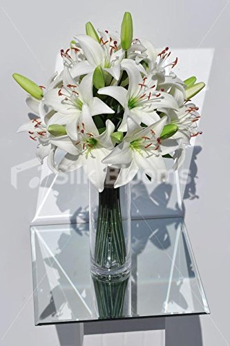 Amazon Artificial Fresh Touch White Oriental Lily Vase Display