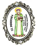 St Dorothea Patron of Love, Weddings, Newlyweds, Horticulture Huge 2'' Antique Silver Pin Brooche
