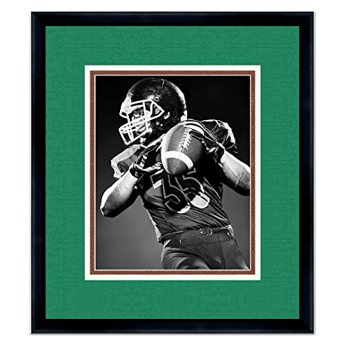 New York Jets Black Wood Frame for a 16x20 Photo with a Triple Mat - Green, White, and Football Textured Mats