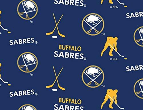 (Buffalo Sabres Fleece Blanket Fabric All Over Design-Sold by The Yard)