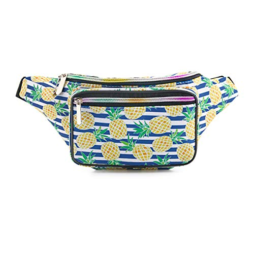 - Mum's memory Cute Fanny Pack for Women 80's Waterproof Girls Waist Bag with Adjustable Belt for Traveling, Rave, Festival, Party and Daily Used (80's Pineapple)