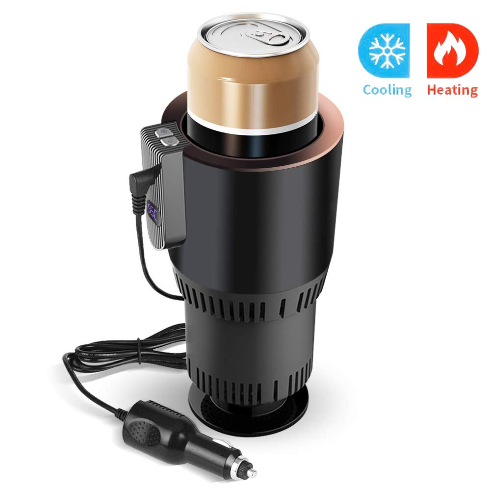 VAlinks 2-in-1 Car Cup Cooler Warmer, Auto Car Heating Cooling and Heating Cup Holder, Smart Car Seat for Water Coffee Beverage Milk Warmer Heater Cooler Fits in Commuter / Traveler / Road Tripper / Recreation