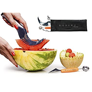 Watermelon Slicer & Cutter - Corer for Large Fruits + Bundle Melon Baller & Carrying Bag by Desire Cuisine