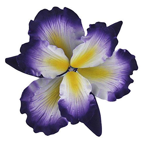 Global Sugar Art Dutch Iris Sugar Flowers Purple with Yellow Center, 1 Count by Chef Alan Tetreault