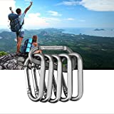 """6PCS 3"""" Aluminum Carabiner Keychain Clip with"""