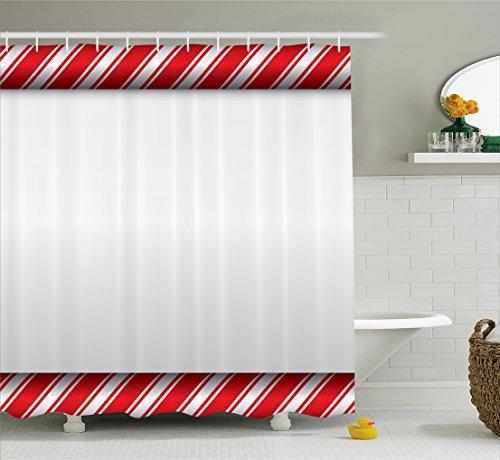Ambesonne Candy Cane Shower Curtain, Horizontal Borders Fram