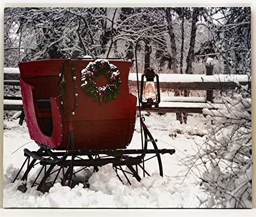 Oak Street Lighted Canvas w/Timer - Winter Sleigh (8x6 Tabletop)