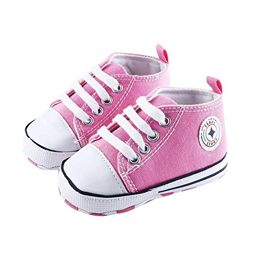 Prewalker Infant Sweet Canvas Sneaker Anti-skid Soft Shoes Trainer Pink