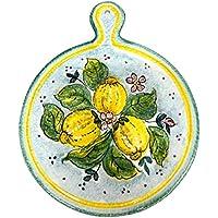 CERAMICHE PARRINI - Italian Ceramic Art Utensil Kitchenware Tile Trivet Pottery Decorated Lemons Hand Painted Made in ITALY Tuscan