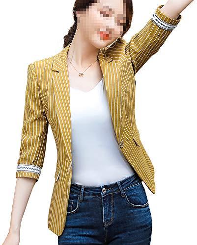 Women's Blazer Varsity Jacket Baseball Coat Fashion Casual Floral Mid-Sleeve Slim Fit Lightweight Sportswear -