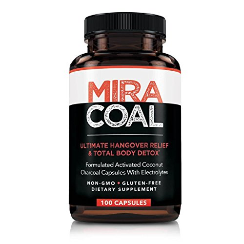 Miracoal Hangover Prevention and Relief Pills – 100 Capsules | Organic Activated Coconut Charcoal Plus Electrolytes | Remove Toxins While You Sleep | Wake Up Refreshed No Side Effects | Gluten Free For Sale